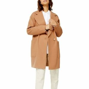 Topshop/Camel Carly Single-Breasted Coat/ Size 8
